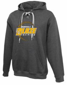 BSB01F - Charcoal Grey Hockey Laced Premium Fleece Hooded Sweatshirt with 3 Color Screen Printed BLAZE Fastpitch Logo