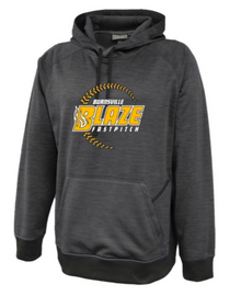 BSB01G - Graphite Performance Fleece Hooded Sweatshirt with 3 Color Screen Printed BLAZE Fastpitch Logo