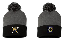 BSBKPH -Dark Heather Grey/ Black Knit Pom Hat with Choice of embroidered logo