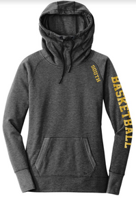 LSBB2B -Lakeville SOUTH New Era® Ladies Tri-Blend Fleece Pullover Hoodie with Metallic SOUTH Logo on shoulder and BASKETBALL down Sleeve