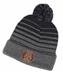LSBBKHSB - Black and Gray Gradient Knit Hat with Embroidered Basketball Logo