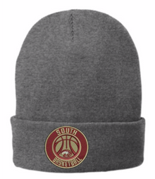LSBBGKB-  Gray Knit Beanie with Embroidered Basketball Logo