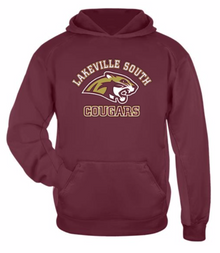 LSBBSSSY - Cardinal YOUTH Performance Fleece Hooded Sweatshirt with Screenprinted Lakeville South Logo