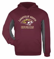 LSBBSSSA - Cardinal / Grey ADULT Performance Fleece Hooded Sweatshirt with Screenprinted Lakeville South Logo