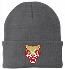 LSH09 Gray Knit Beanie with Embroidered Cougar Head Logo