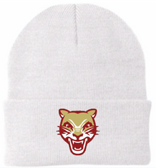 LSH10 White Knit Beanie with Embroidered Cougar Head Logo