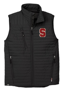 """LSH08 BLACK MEN'S ECO INSULATED QUILTED VEST with embroidered left chest  """"S""""  Logo"""