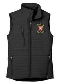 LSH05B BLACK WOMEN'S ECO INSULATED QUILTED VEST with embroidered left chest South Hockey Logo