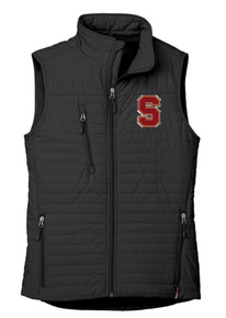 """LSH06B BLACK WOMEN'S ECO INSULATED QUILTED VEST with embroidered left chest """"S""""  Logo"""