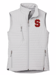 """LSH06P PLATINUM (LIGHT GREY) WOMEN'S ECO INSULATED QUILTED VEST with embroidered left chest """"S""""  Logo"""