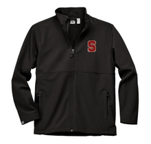 """LSH02 BLACK MEN'S HIGH-STRETCH FLEECE-LINED SOFTSHELL JACKET with embroidered left chest  """"S""""  Logo"""