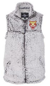 LSH14 FROSTY GREY WOMEN & GIRL'S SHERPA FULL-ZIP VEST with embroidered left chest Cougar Head  Logo