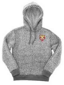 LSH16 FROSTY GREY SHERPA HOODED PULLOVER (Adult & Youth)  with embroidered left chest SOUTH HOCKEY  Logo