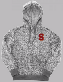 """LSH17 FROSTY GREY SHERPA HOODED PULLOVER (Adult & Youth) with embroidered left chest """"S""""  Logo"""