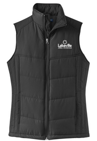 Ladies Puffy Vest with left chest embroidered logo