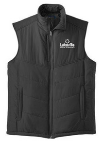 UNISEX Black Puffy Vest with left chest embroidered logo