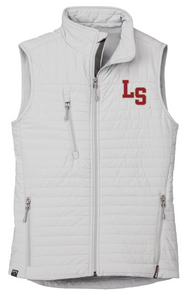 LSBBPWV PLATINUM (Light Grey) WOMEN'S ECO INSULATED QUILTED VEST with embroidered left chest LS Logo