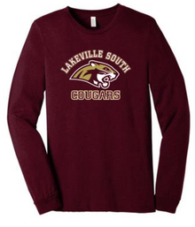 LSBBLSC Heather Cardinal Unisex Jersey Long Sleeve Tee with Screen Printed Lakeville SOuth COugar Head Logo