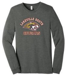 LSBBLSG Deep Heather Grey Unisex Jersey Long Sleeve Tee with Screen Printed Lakeville South Cougar Head Logo
