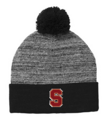 "LSH18 Black & Grey Heather Pom Beanie with Embroidered ""S"" Logo"