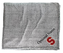 "LSH19 Frosty Grey Sherpa Blanket with Embroidered ""S"" Logo"