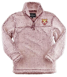 LSH20 FROSTY GARNET WOMEN & GIRL'S SHERPA QUARTER-ZIP PULLOVER with embroidered left chest Cougar Head  Logo