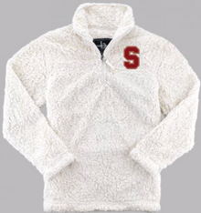"""LSH23  NATURAL (WHITE) WOMEN & GIRL'S SHERPA QUARTER-ZIP PULLOVER with embroidered left chest """"S"""" Logo"""