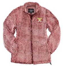 LSH24 FROSTY GARNET WOMEN & GIRL'S SHERPA  FULL-ZIP JACKET with embroidered left chest Cougar Head  Logo