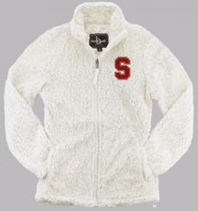 """LSH27 NATURAL (WHITE) WOMEN & GIRL'S SHERPA  FULL-ZIP JACKET with embroidered left chest """"S"""" Logo"""