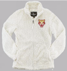 LSH26 NATURAL (WHITE) WOMEN & GIRL'S SHERPA  FULL-ZIP JACKET with embroidered left chest COUGAR HEAD Logo