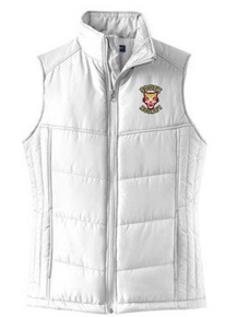 LSHLPVSH  WHITE Ladies Puffy Vest with left chest embroidered SOUTH HOCKEY logo