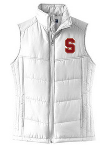 """LSHLPVS  WHITE Ladies Puffy Vest with left chest embroidered """"S"""" logo"""