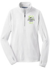 MIDICE1W -  Ladies WHITE Microfleece Quarter Zip with Embroidered  MID ICE  Logo