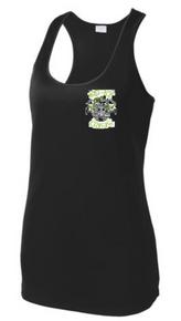 MIDICE2B -  Ladies Black Performance Racerback Tank with Embroidered MID ICE Logo