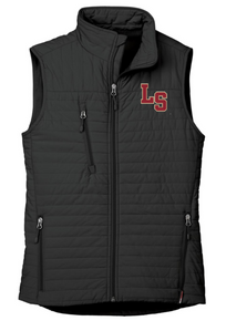 LSW15 BLACK WOMEN'S ECO INSULATED QUILTED VEST with embroidered left chest LS  Logo