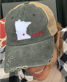 LSW22 - Distressed Baseball Cap with Minnesota Star South Logo
