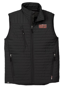 LSW14 BLACK MEN'S ECO INSULATED QUILTED VEST with embroidered left chest  Lakeville South Wrestling  Logo