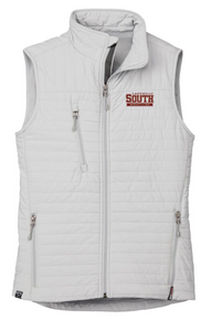 LSW18 PLATINUM (Light Grey) WOMEN'S ECO INSULATED QUILTED VEST with embroidered left chest Lakeville South Wrestling Logo