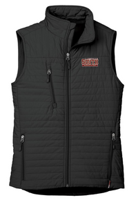 LSW16 BLACK WOMEN'S ECO INSULATED QUILTED VEST with embroidered left chest Lakeville South Wrestling  Logo