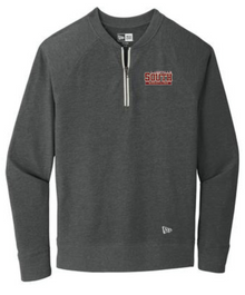 LSW19 - Unisex Black Heather New Era ® Sueded Cotton Blend 1/4-Zip Pullover with Embroidered  Lakeville South Wrestling  Logo