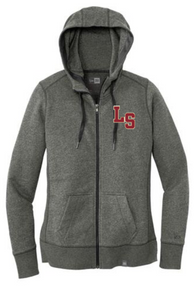 LSW06 - Black Twist New Era® Ladies French Terry Full-Zip Hoodie with Embroidered LS Logo