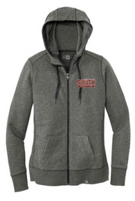 LSW07 - Black Twist New Era® Ladies French Terry Full-Zip Hoodie with Embroidered Lakeville South Wrestling Logo