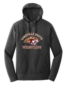 LSW01 - Black Heather Unisex NEW ERA Fleece Tri Blend Pullover Hooded Sweatshirt with screenprinted Lakeville South Wrestling logo