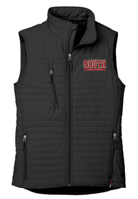 LSHS03 BLACK WOMEN'S ECO INSULATED QUILTED VEST with embroidered left chest Lakeville South Logo