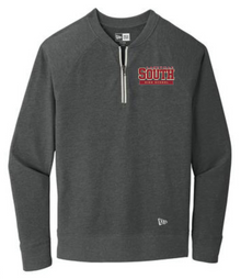 LSHS07 - Unisex Black Heather New Era ® Sueded Cotton Blend 1/4-Zip Pullover with Embroidered  Lakeville South Logo