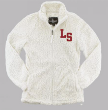 LSHS08 NATURAL (WHITE) WOMEN's SHERPA  FULL-ZIP JACKET with embroidered left chest LS Logo