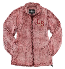 LSHS09 FROSTY GARNET WOMEN'S SHERPA  FULL-ZIP JACKET with embroidered left chest LS Logo