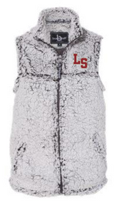 "LSHS10 - FROSTY GREY WOMEN'S SHERPA FULL-ZIP VEST with embroidered left chest ""S""  Logo"