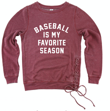 LSB02   Boxercraft - Women's Enzyme-Washed Rally Lace-Up Sweatshirt (GARNET)  with Baseball is my Favorite Season Screen Printed Logo