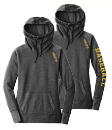 LSB03 New Era® Ladies Tri-Blend Fleece Pullover Hoodie (BLACK HEATHER)  with Metallic SOUTH Logo on shoulder